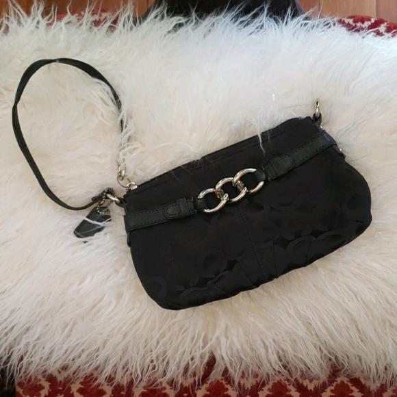 Coach mini zip wristlet/purse in signature canvas